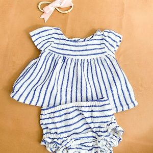 Gauze striped top and bummies
